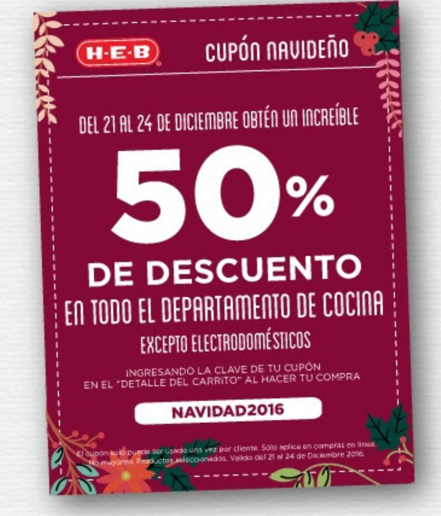 HEB online: Cupón 50% de descuento en todo el depto de cocina