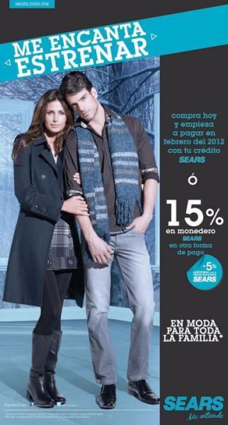 Sears: 15% en monedero electrónico Sears o paga hasta febrero 2012 en moda para la familia