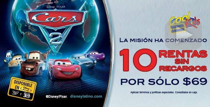 Blockbuster Cool Kids: pulsera de Cars 2 y 10 rentas sin recargos por $69