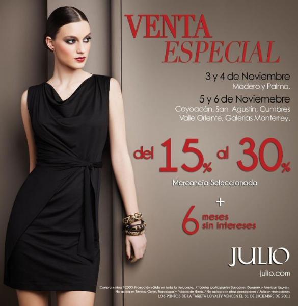 Venta Especial Julio: descuentos del 15 al 30% y 6 MSI (tiendas seleccionadas)