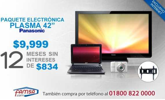 "Famsa: TV plasma Panasonic 42"", netbook, cámara y soporte por $9,999 y 12 MSI"