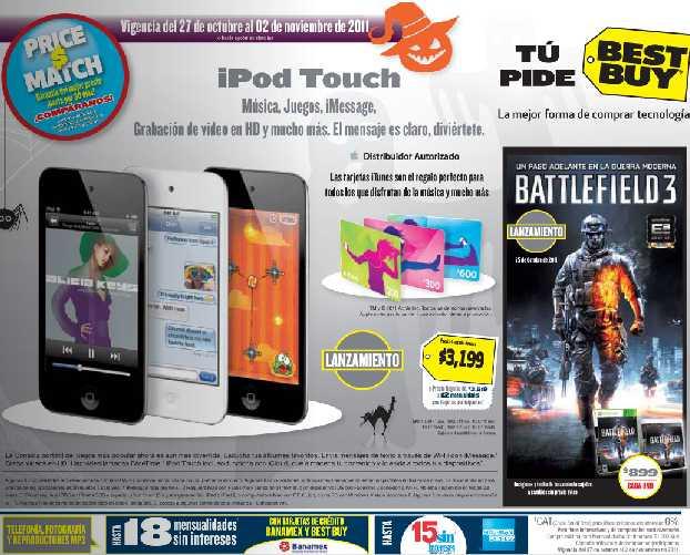 Folleto Best Buy octubre 27: Wii $1,999, Battlefield 3 $899, descuentos en TVs, cámaras y +