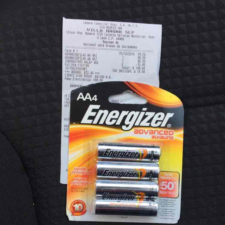 Oxxo Villa Magna SLP: Baterías AA Energizer Advanced