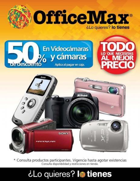 OfficeMax: liquidación de cámaras y videocámaras a mitad de precio