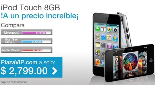 Plaza VIP: iPod Touch cuarta generación 8GB a $2,799
