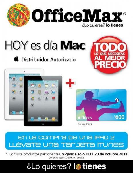 OfficeMax: Tarjeta iTunes gratis con iPad 2 y 18 MSI en Mac y iPod a precio de contado con Banamex