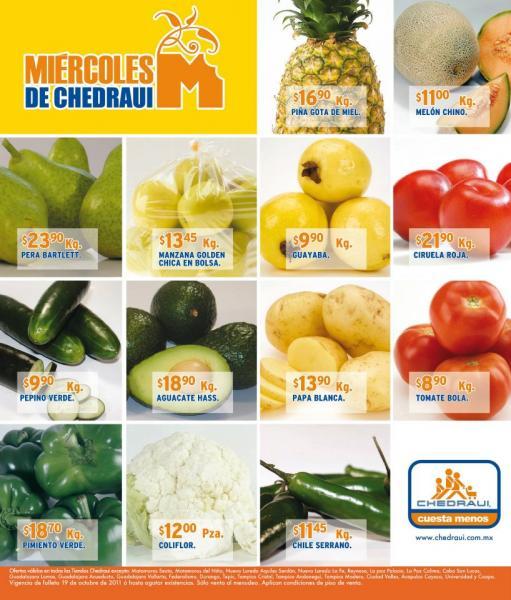 Miércoles de frutas y verduras Chedraui octubre 19: toronja $2.40, Espinaca $1.95 y más