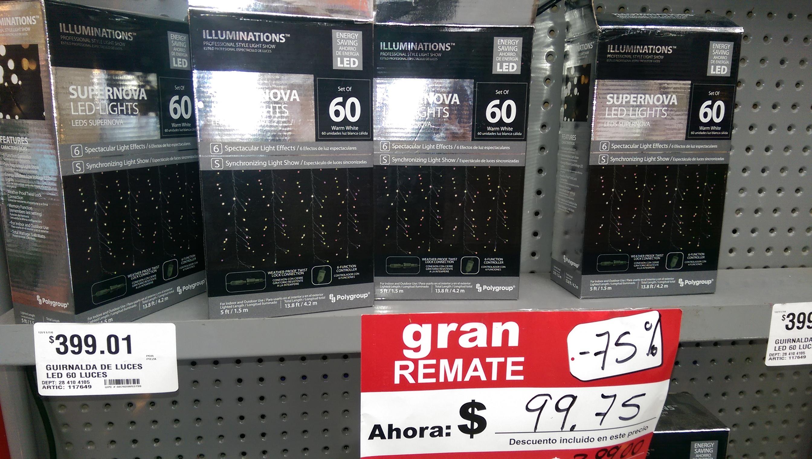 Home Depot: remate luces Super Nova Led Lights.