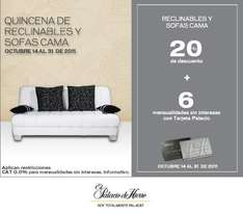 Palacio de Hierro: 20% de descuento y 6 MSI en reclinables y sofas cama
