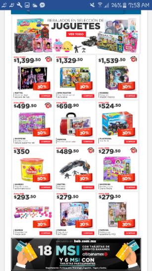 HEB en línea: selección de juguetes con descuento.