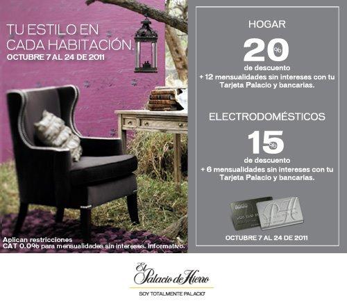 Palacio de Hierro: 20% de descuento en hogar, 15% en electrodomésticos y meses sin intereses
