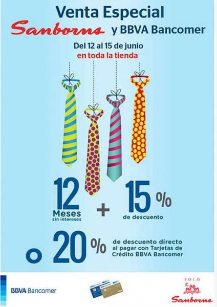 Sanborns: venta especial Bancomer del 12 al 15 de junio