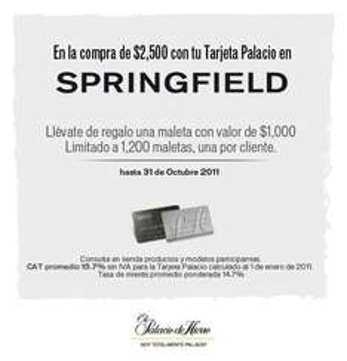 Palacio de Hierro: gratis maleta al comprar $2,500 en Springfield con Tarjeta Palacio
