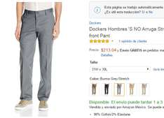 Amazon: Pantalon formal Dockers No Arrugas Varias tallas y Colores