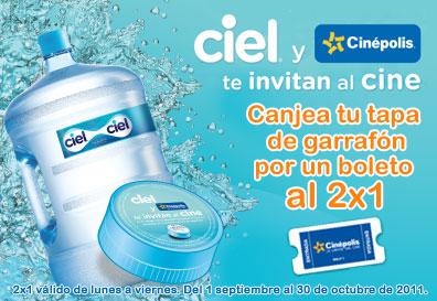 Cinépolis: 2x1 con tapa de garrafón de agua Ciel