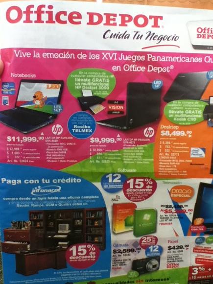 Folleto Office Depot: Office e impresora láser gratis con laptop, descuentos en teclados, papel, focos y más