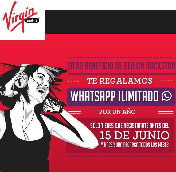 Virgin Mobile: Whatsapp gratis por un año registrándote en su página