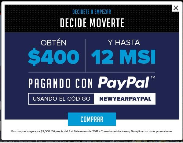 """Innovasport:  Obtén $400 al pagar con Paypal CÓDIGO """"NEWYEARPAYPAL"""" en compras mayores a $2,000"""