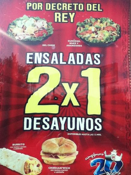Burger King: 2x1 en ensaladas y desayunos seleccionados