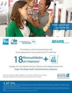 Sears: 18 MSI y doble de puntos Membership Rewards pagando con Amercian Express