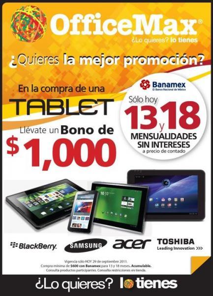 OfficeMax: 18 MSI en toda la tienda con Banamex y $1,000 de bonificación al comrpar una tablet