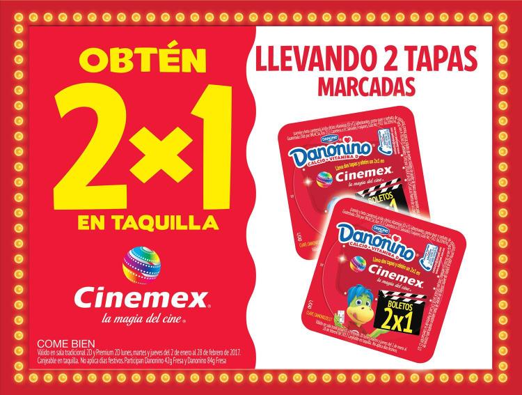 Cinemex: 2x1 en taquilla con 2 tapas marcadas de Danonino