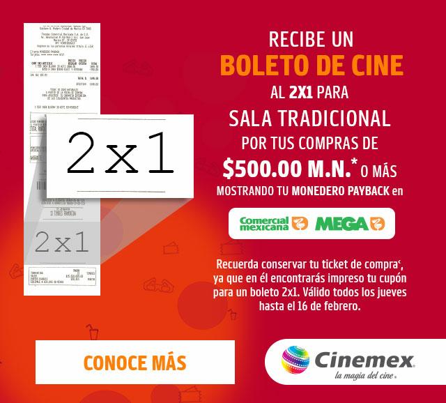 Cinemex: 2×1 al comprar $500 en La Comer