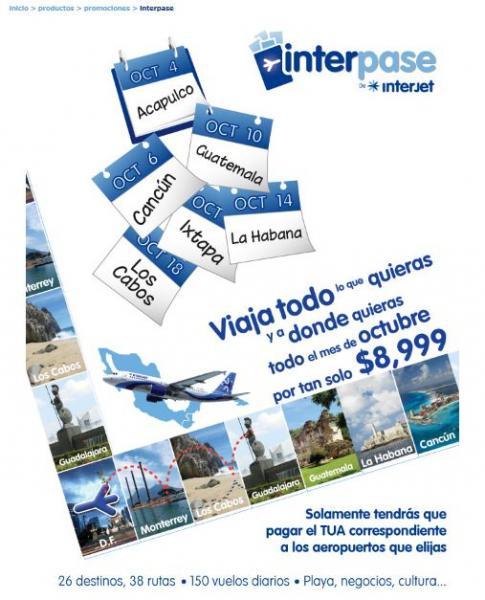 Interjet: viajes ilimitados en octubre por $8,999