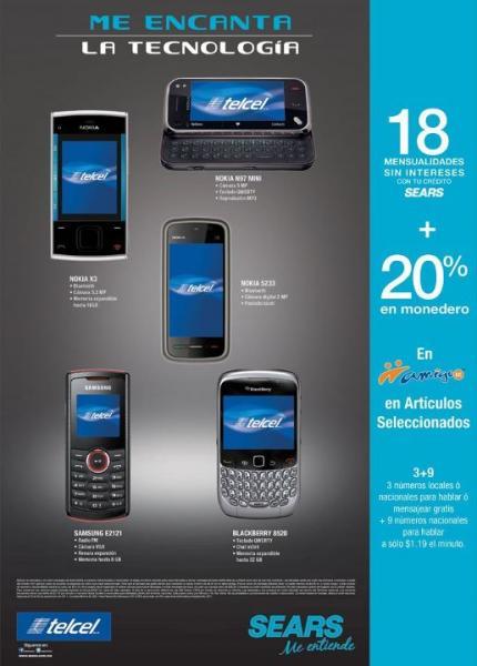 Sears: 20% en monedero en algunos celulares Amigo Kit