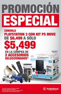 RadioShack: laptop HP con 3GB de RAM $6,199 y PS3 Move $5,499 comprando 2 accesorios