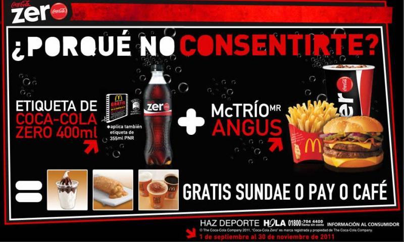 McDonald's: postre gratis al comprar McTrío llevando etiqueta de Coca-Cola Zero