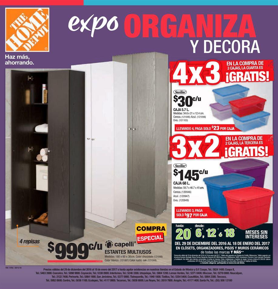 """Home Depot: """"Expo Organiza y Decora"""" 3x2, 4x3 en cajas organizadoras y más (Folleto completo)"""