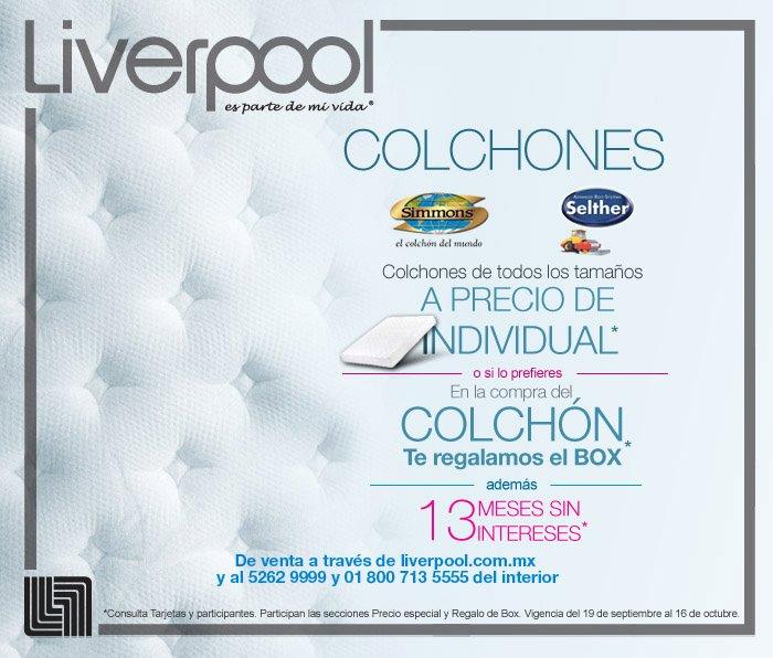 Liverpool: colchones Simmons o Selther a precio de individual o box gratis