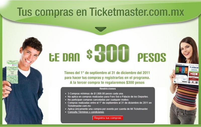 Ticketmaster: recibe $300 después de 3 compras