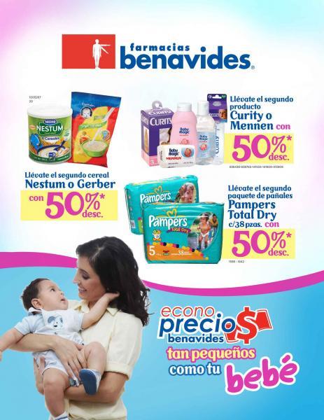 Circular Farmacias Benavides: 50% de descuento en el segundo de pañales, art. para bebé, Electrolit, curitas y más