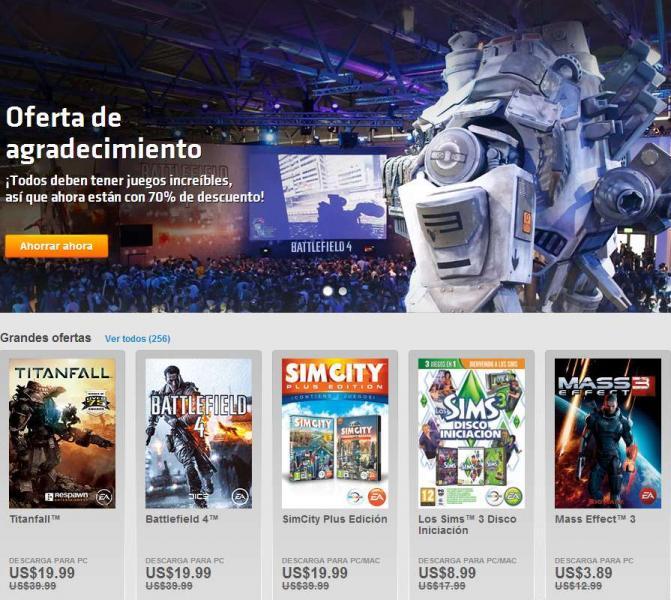 Origin: Titanfall o Battlefield 4 $19.99 dólares, Dead Space 3 $3.89 y más