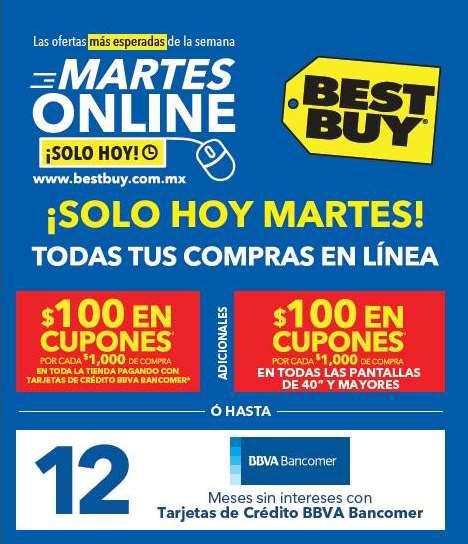 """Martes online Best Buy Bancomer: $200 x cada $1,000 en pantallas de 40"""" y más"""