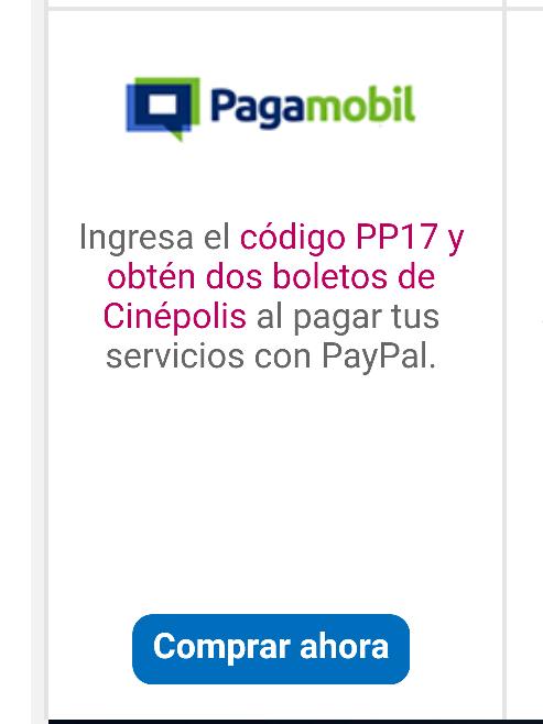 Pagamobil: Regala 2 boletos de cine en pagos con PayPal arriba de $200