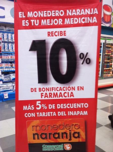 Comercial Mexicana: 10% de bonificación en farmacia y 5% de descuento con tarjeta INAPAM
