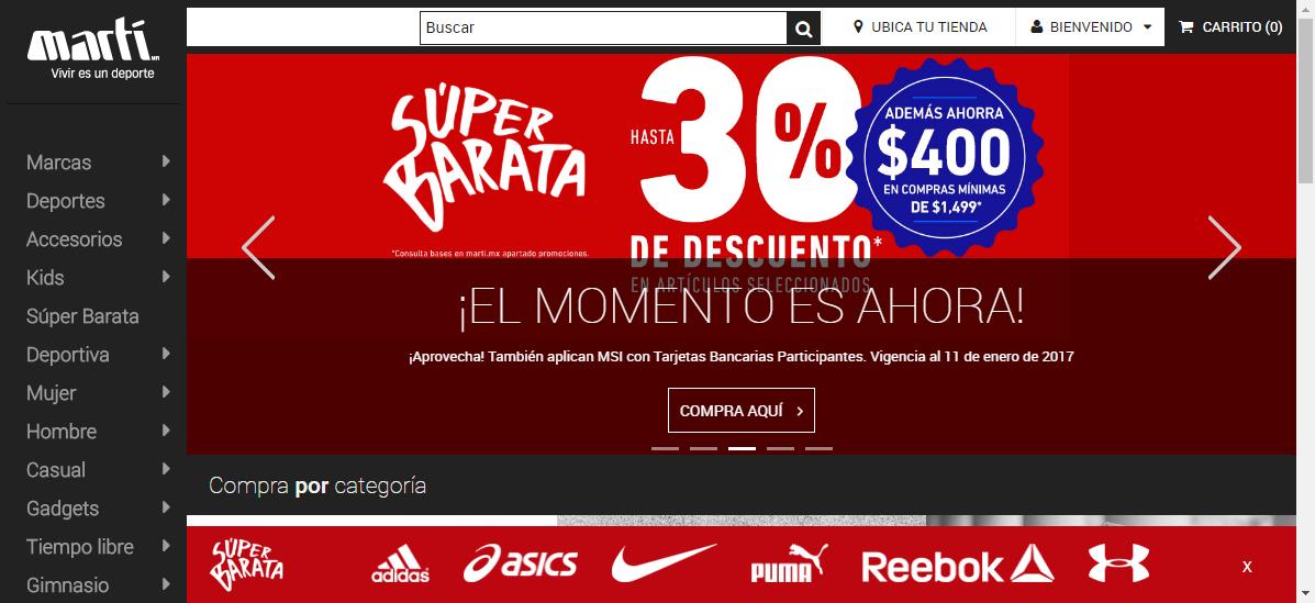 Martí.mx: hasta 30% más $400 de descuento en compra minima de $1,499 sólo en tienda en linea