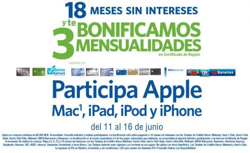 Sam's: 18 meses sin intereses y 3 de bonificación incluyendo todo Apple
