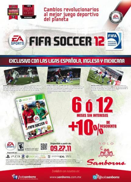 Sanborns: FIFA Soccer 12 con 10% de descuento y 12 meses sin intereses