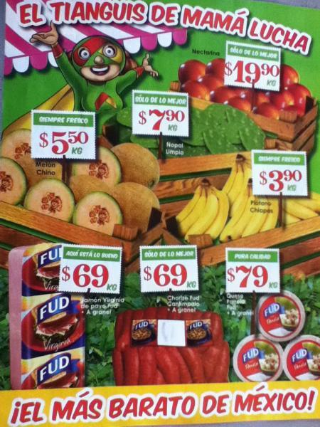 Tianguis de Mamá Lucha: melón $5.50, plátano $3.90, filete basa $49, carne para asar $62 y mas