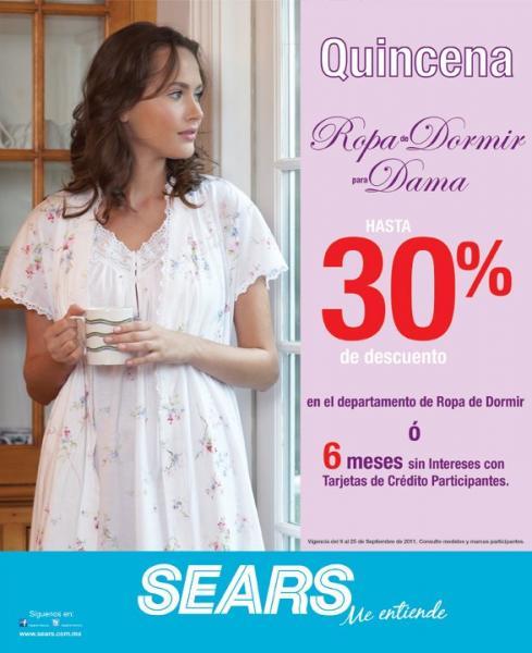 Sears: 30% de descuento o 6 MSI en ropa de dormir para dama