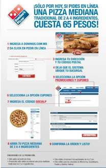 Domino's Pizza: pizza mediana 2 a 4 ingredientes $65 si pides en linea (solo hoy)
