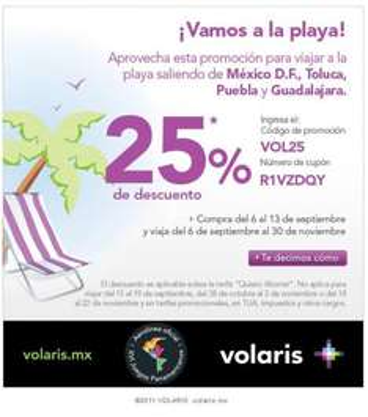 Volaris: 25% de descuento a destinos de playa saliendo del DF, GDL, Toluca y Puebla