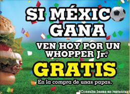 Burger King: Whopper Jr. gratis al comprar papas mañana si México le gana a Polonia
