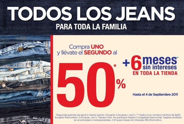Suburbia: compra uno y el segundo al 50% de descuento en todos los jeans y 6 MSI