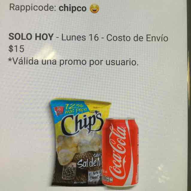 Rappi: coca y papas gratis, costo de envío más propina (si quieren dar, no es obligatoria)