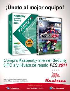 Sanborns: gratis PES 2011 al comprar Kaspersky Internet Security